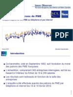 Baromètre des PME Ipsos / LCL / La Tribune (20/02/12)