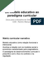 Do Modelo Educativo Ao Paradigma Curricular