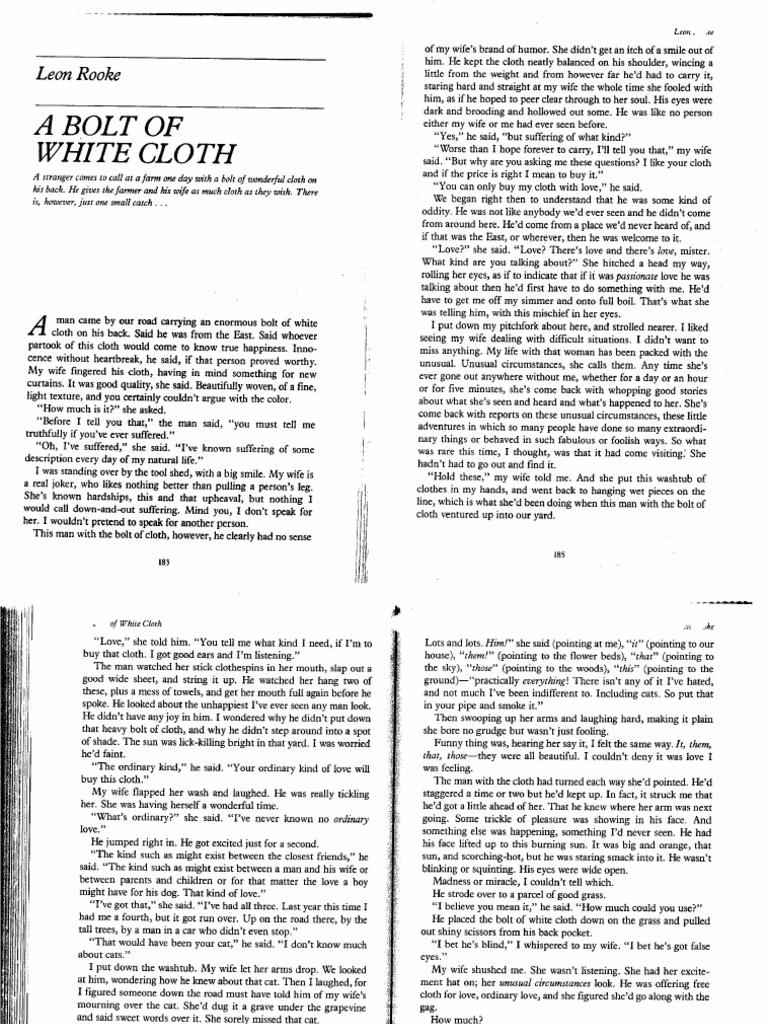 a bolt of white cloth