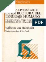 Humboldt - Sobre La Divers Id Ad de La Estructura Del Lenguaje Humano