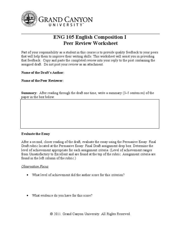 Peer Review Worksheet Rubric Academic Essays