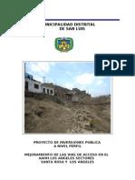 PIP Mejoramiento de via de Acceso Sector Los Angeles Distrito de San Luis dEFINITIVO