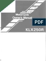 KLX250 Owner Manual