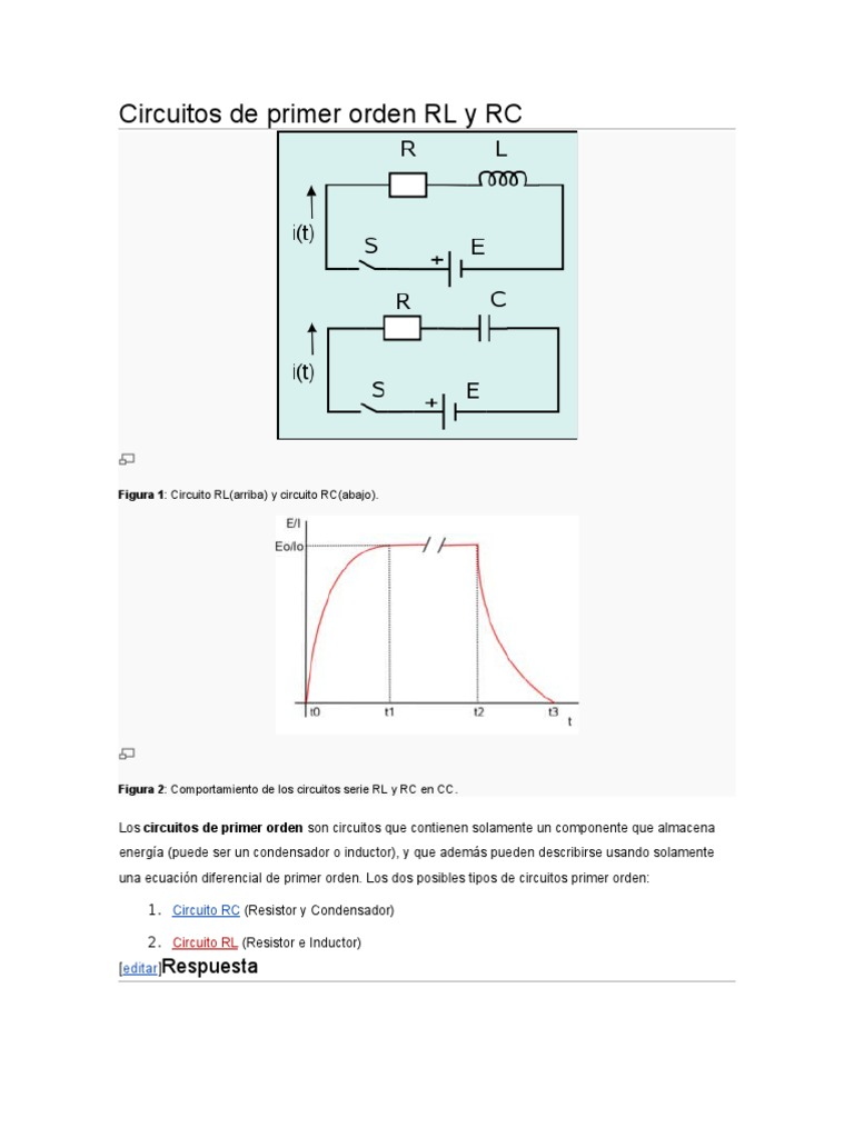 Circuito Cc : Circuitos de primer orden rl y rc