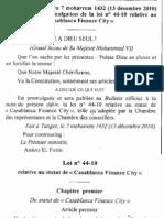 Casablanca Finance City_loi 2011
