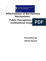 Effectiveness of Aid Delivery Mechanisms