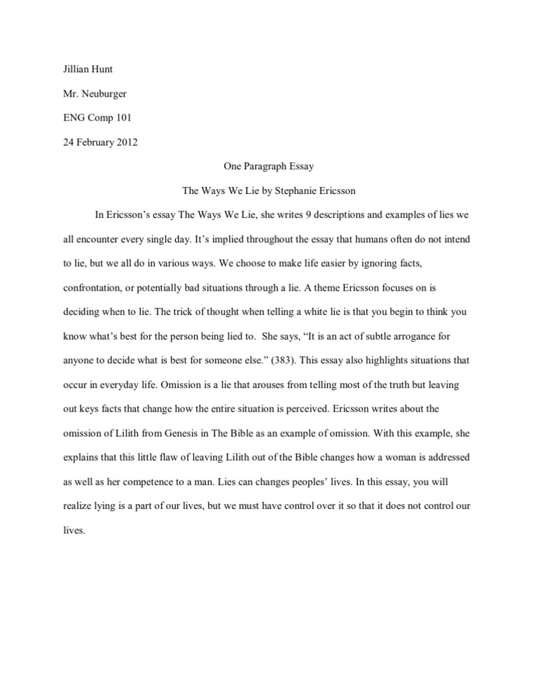 Research Paper Essay Examples  Sample Essay Topics For High School also Easy Essay Topics For High School Students The Ways We Lie Summaryjillian Hunt An Essay On English Language