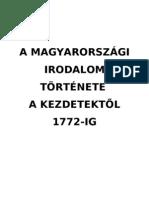 A magyar irodalom története a kezdetektől 1772-ig