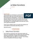 Advice on Solar Inverters