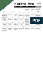 Calendario de actividades de la ICDC en Espinosa para Marzo 2012