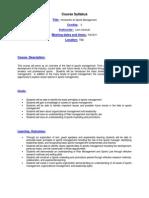 Sports Management - EDPE 241 Z1 - Course Syllabus
