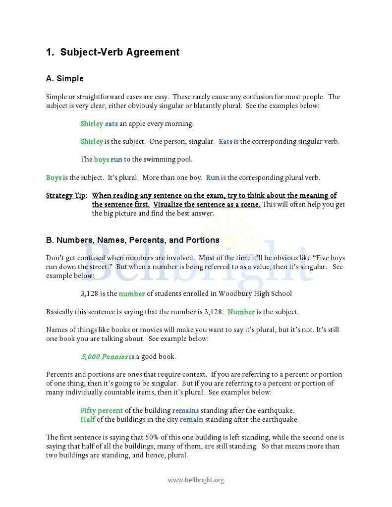 1 Subject Verb Agreement Grammatical Number Verb