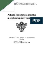 Szalai Pál - Alkotó és romboló munka a szabadkőművességben