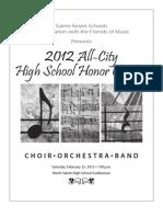 2012 All-City High School Honor Concert program