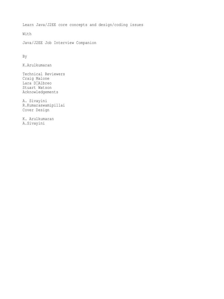 Java J2ee Job Interview Companion By K.arulkumaran Pdf