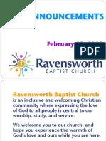 Ravensworth Baptist Church Announcements, 2/19/12