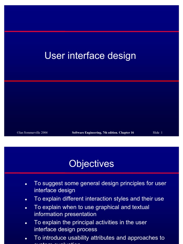 Software Engineering Chapter 16 User Interface Design User Interface