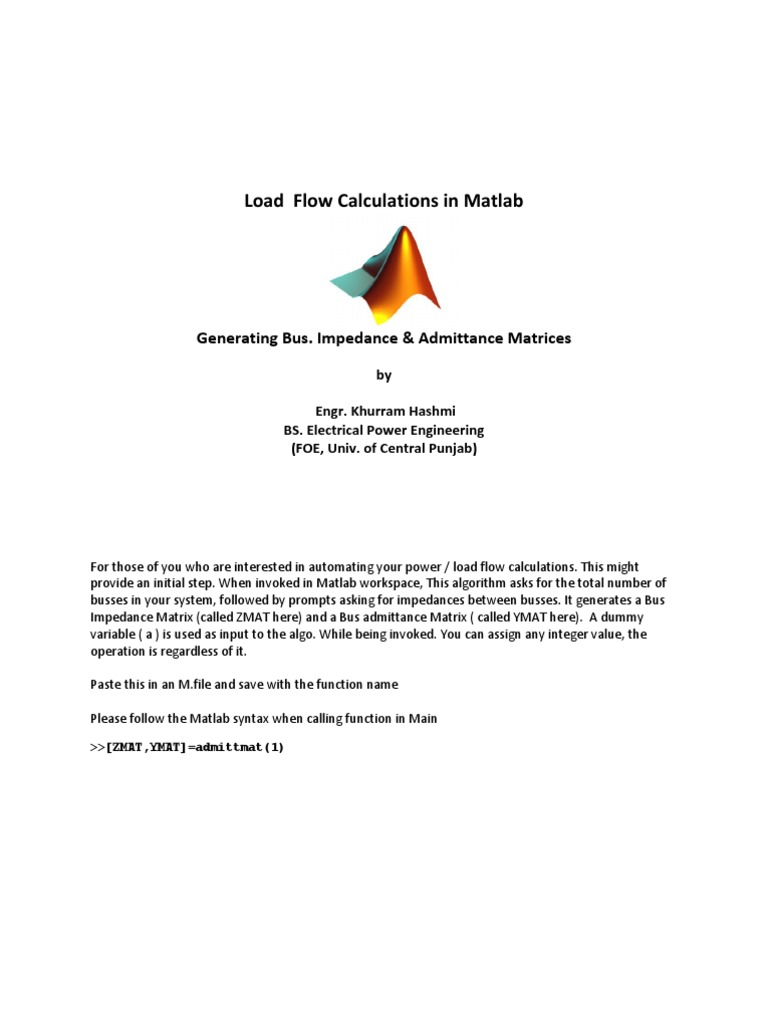 Load Flow Calculations in Matlab: Generating Bus  Impedance