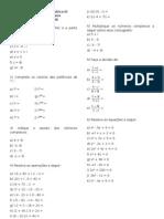 Lista de exercícios de números Complexos