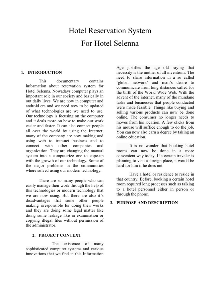 what is hotel reservation system