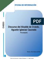 Discurso del Alcalde de Oviedo, Agustín Iglesias Caunedo. Acto de precampaña 2012