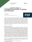 Entrepreneurial Learning---Conceptual Framework for Technology Based Entrpris