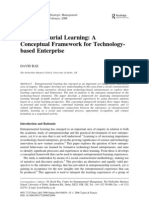 Entrepreneurial Learning---Conceptual Framework for Technology Based Entrpris