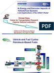 Well-to-Wheels Energy and Emission Impacts of Vehicle/Fuel System; Development and Applications of the GREET Model