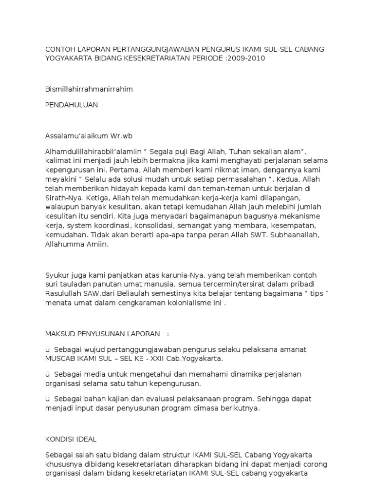 Contoh Laporan Pertanggung Jawaban Bali