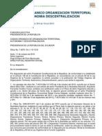 CODIGO ORGANICO DE ORGANIZACION TERRITORIAL, AUTONOMIA Y DESENTRALIZACION