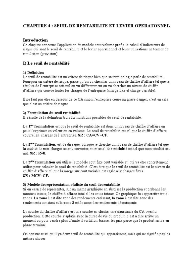 Support De Diapo Controle De Gestion C I 2 Chap 4 Seuil De Lite Et