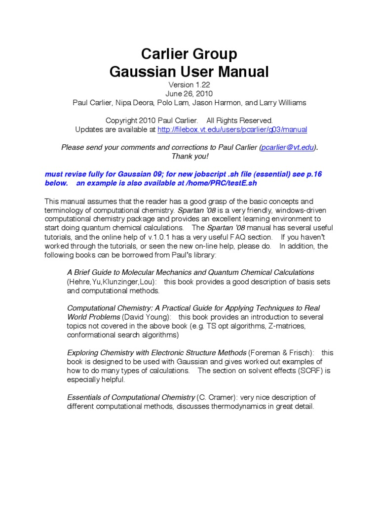 Gaussian Manual   Computational Chemistry   Computer File