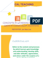Concepts in Learning Theories Used in Curriculum Planning