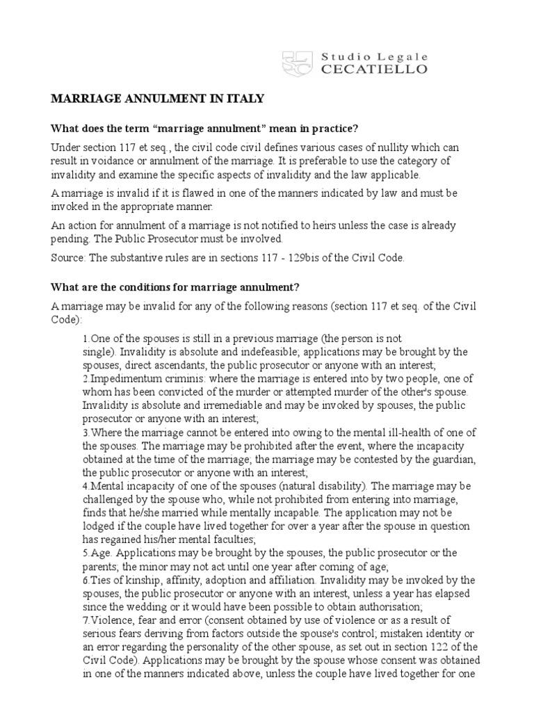 Marriage Annulment in Italy | Annulment | Marriage