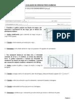 Teste de avaliação (9º ano) - Física e Química (+SOLUÇÕES)