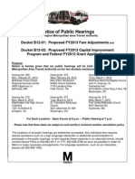 Public meeting schedule for Metro's proposed fare increases