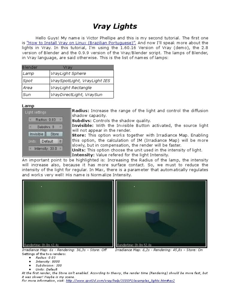 Vray Lights English | Rendering (Computer Graphics) | Shadow