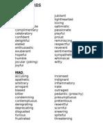 Adjectives Describing Author's Tone