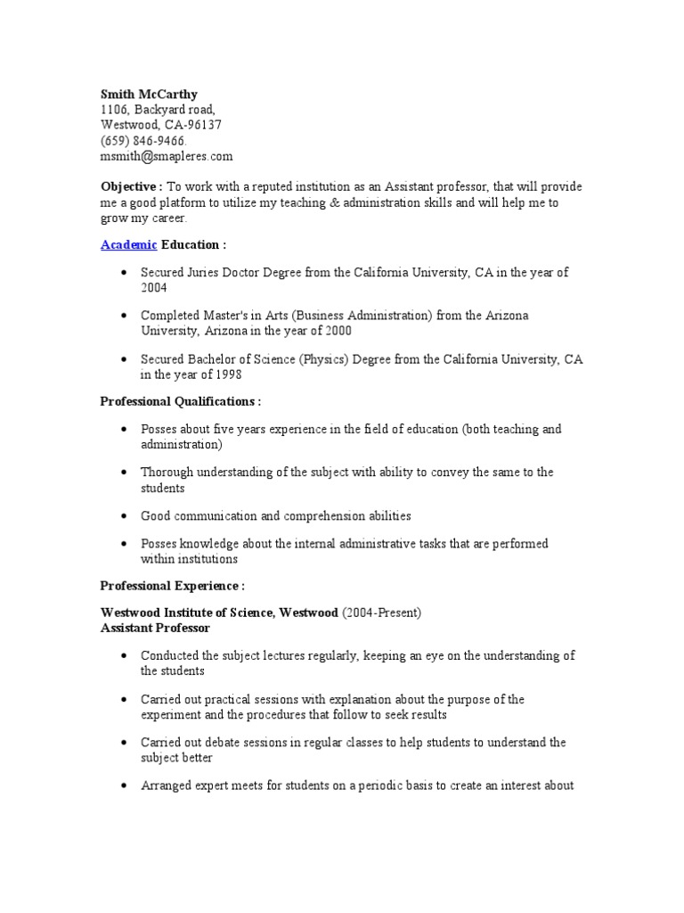 Assistant professor resume university professor for Sample resume for experienced assistant professor in engineering college