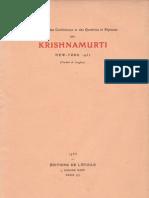 Krishnamurti à New-York en 1935