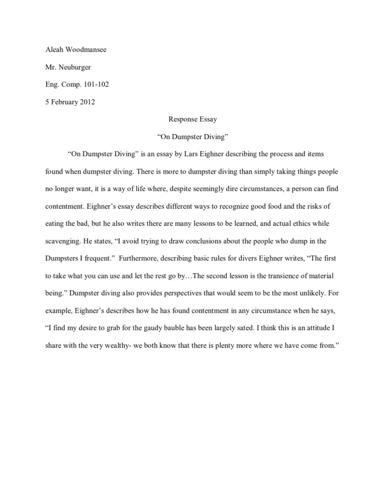 dumpster diving lars essay Free essays on on dumpster diving by lars eighner summary get help with your writing 1 through 30.
