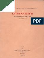 Krishnamurti en Amérique latine 1935
