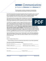 CPNI Back-Up Authentication Question Letter