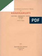 Krishnamurti à New-York - Eddington - Ommen - Madras en 1936
