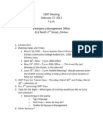 CERT Meeting Agenda 2012-02-27