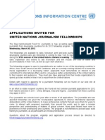 UN Journalism Fellowship Announcement 2012