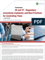 DHF DMR DHR and TF Regulatory Documents Explained Seminar Brochure