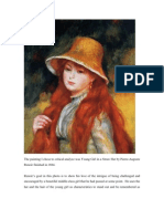 Rhetorical Analysis - Young Girl in a Straw Hat