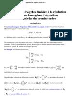Applications de l'algèbre linéaire à la résolution de systèmes homogènes d'équations différentielles du premier ordre