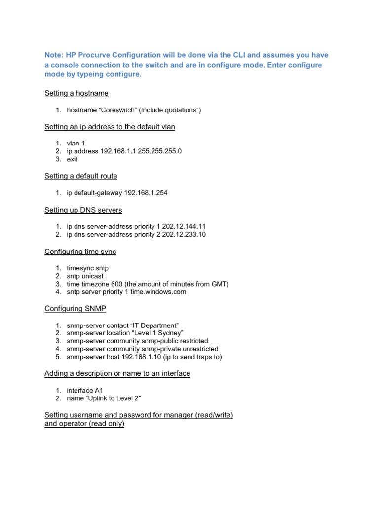 HP Procurve Advanced CLI Commands Reference